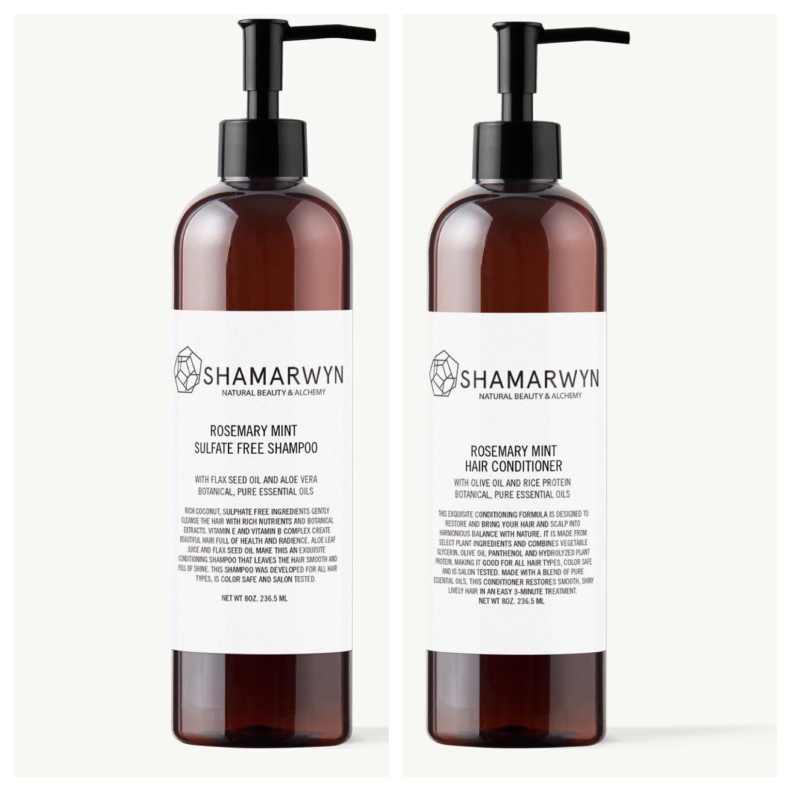 Rosemary Mint Shampoo & Conditioner Set, Sulfate Free, Natural-Organic, Essential Oils, Color Safe 8oz ea