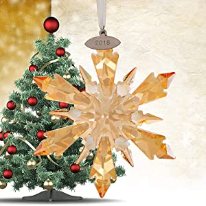 XIANGBAN Crystal Snowflake Pendant Home Clear Star Decoration Hanging Christmas Prism Jewelry (Champagne)