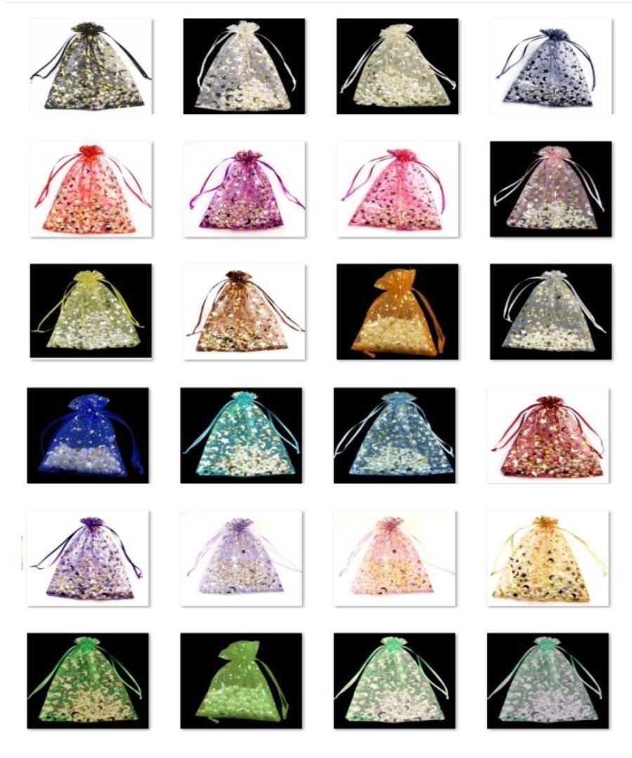 trame lune Star Lot 20 Sacs Organza bijoux des confettis de couleur : Pink Pochettes pour mariage 17 cm x 23 cm cadeaux