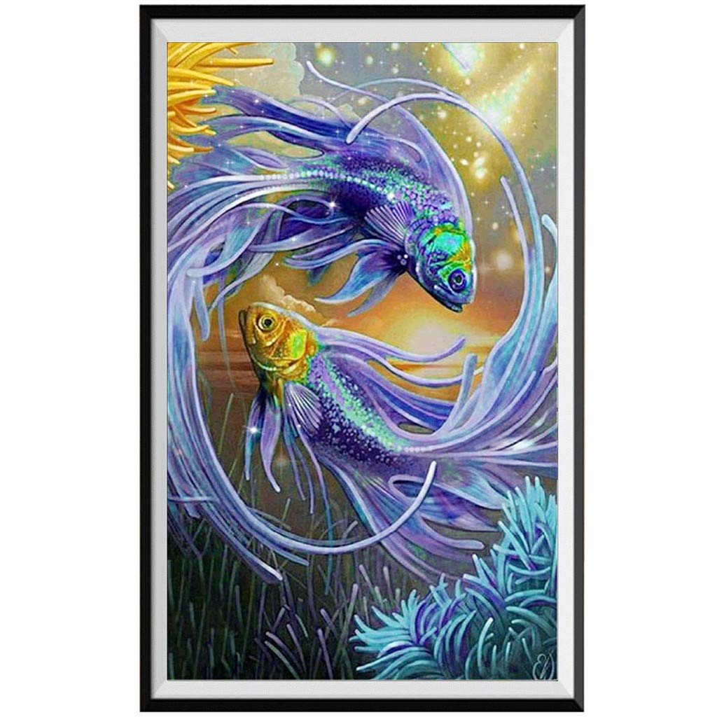 telaite ダイヤモンド刺繍 魚 5D 刺繍絵画 クロスステッチ 30x50cm 30x50cm グリーン B07QLJWLMB パープル