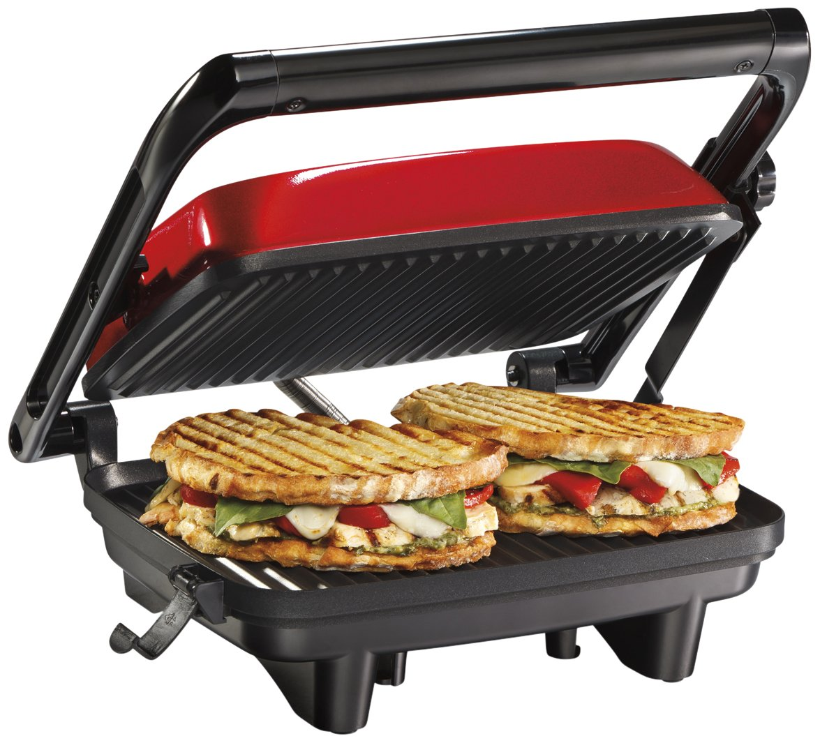 Hamilton Beach Electric Panini Press Grill with Locking Lid, Opens 180 Degrees for Any Sandwich Thickness, Nonstick 8'' x 10'' Grids, Red (25462Z) by Hamilton Beach