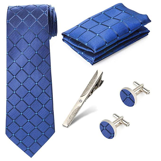 New Mens 4 Piece Tie Set Gift Box Tie Clip Cufflinks Pocket Square Wedding Party