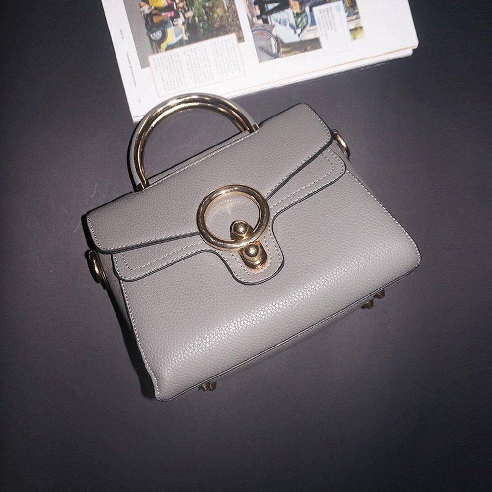 Leder Handtaschen Rindleder Ring-Paket Mode Retro Weibliche Handtasche Einfache Messenger Bag Handtaschen , grau