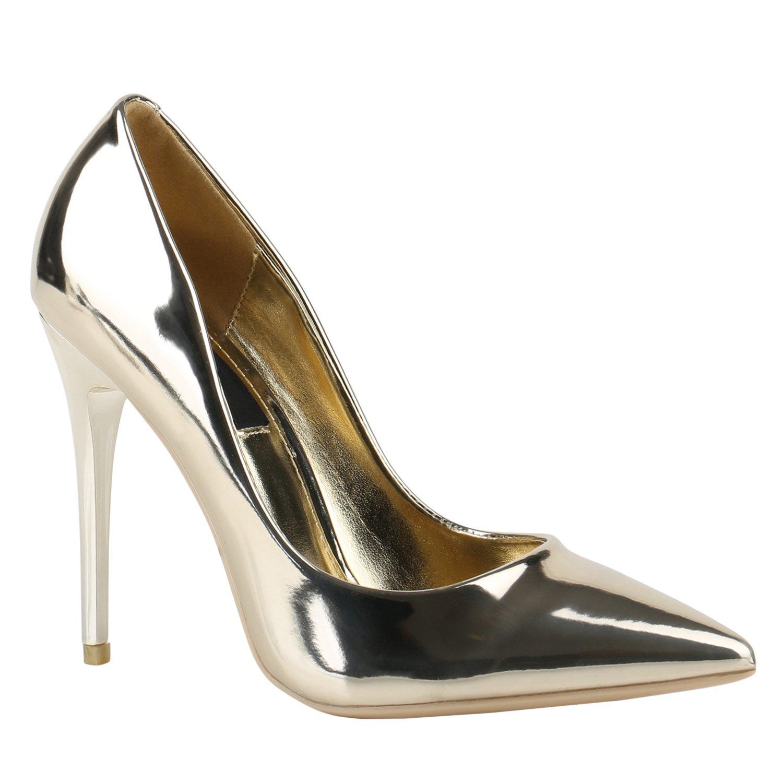 Stiefelparadies Damen Spitze Pumps mit Pfennigabsatz Flandell Gold Lack