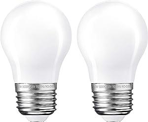2-Pack LED Appliance Light Bulb, 5W(40 Watt Equivalent), Flicker-Free, 500 Lumens, Daylight White 5000K, E26 Medium Base, A15 LED Frosted Glass Bulb for Refrigerator, Range Hood, Non-Dimmable