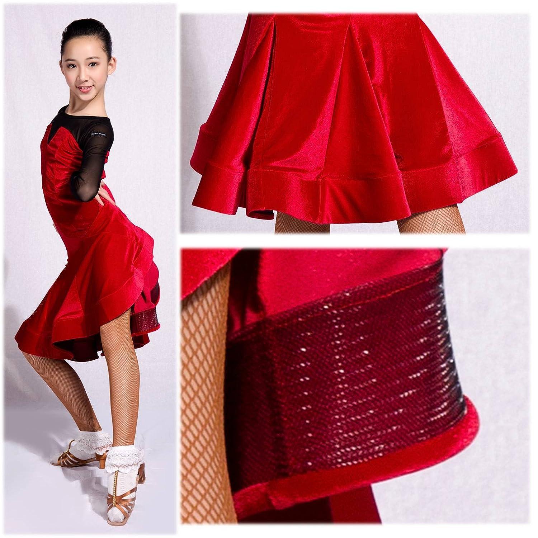 SCGGINTTANZ GD3026 kid latin modern ballroom party dance professional stitching design of velvet and yarn dress for girl