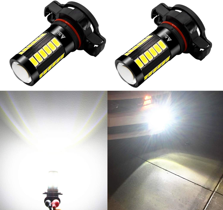 Alla Lighting 5202 LED Fog Light Bulbs 2800lm Xtreme Super Bright 5202 LED Bulb 5730 33-SMD 12V LED 5202 Bulb PS19W 5201 5202 LED Fog Lights DRL - 6000K Xenon White
