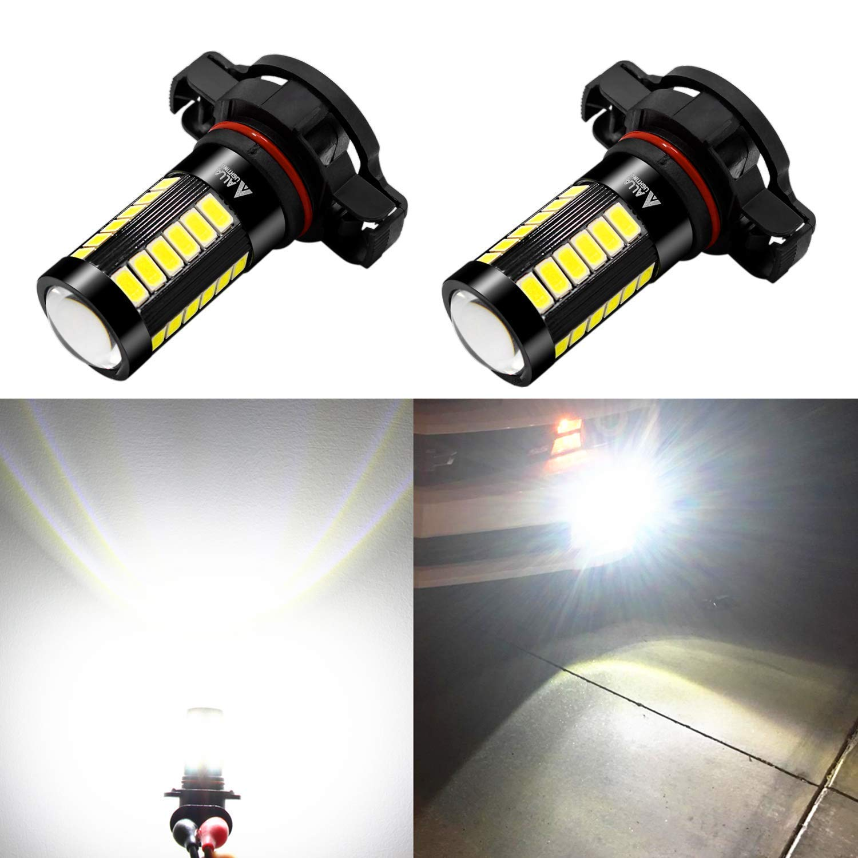 Alla Lighting 2504 PSX24W LED Fog Light Bulbs 2800lm Xtreme Super Bright 5730 33-SMD LED PSX24W Bulb 12276 2504 PSX24W LED Fog Lights for Cars SUVS Vans - 6000K Xenon White