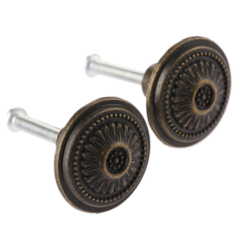 4Pcs Vintage Cabinet Drawer Single Hole Handle Knob Vintage Ring Pull Knob Handle for Cupboard Dresser Door Drawer