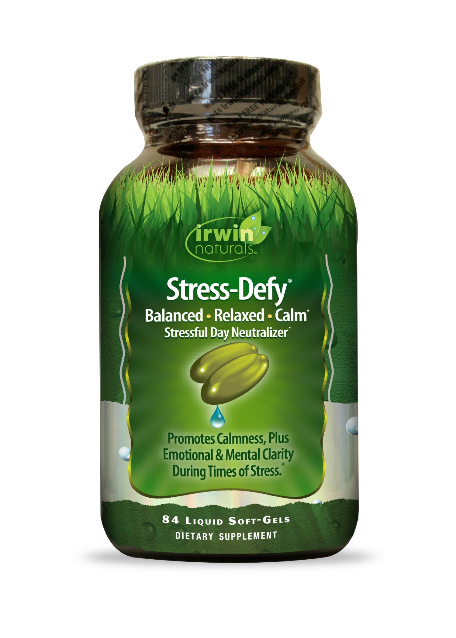 Irwin Naturals Stress-Defy, Balanced Relaxed Calm, Stressful Day Neutralizer, 84 Liquid Softgels by Irwin Naturals (Image #1)
