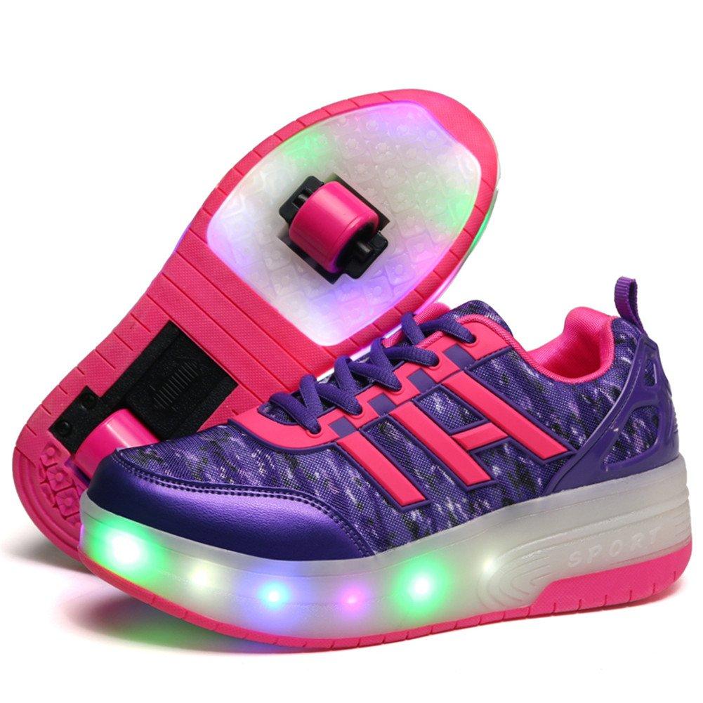 Viken Azer-UK Laufschuhe Sportschuhe Kinder Skateboard Schuhe Kinderschuhe mit Rollen LED Skate Schuhe Trainer Turnschuhe Rollen Schuhe für Junge Mädchen B07CQV9ZNC Basketballschuhe Geeignet für Farbe