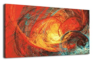 Artewoods Abstract Canvas Wall Art Contemporary Abstract Picture Modern Artwork Large Canvas Art Colorful Red Lines Temporal Tunnel Wall Art For Home