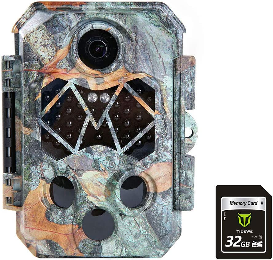 TIDEWE Trail Camera with 32GB SD Card, 32MP 4K Hunting Camera with 0.2s Trigger 3 PIR, 120° Range Night Vision 45 LEDs Waterproof Scouting Camera for Wildlife Monitoring, Home Security, Leaf : Sports & Outdoors
