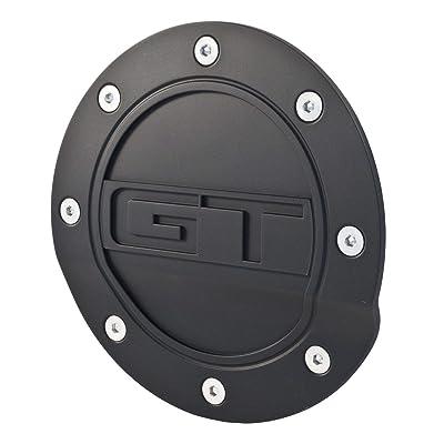 2015-2020 Mustang Black Fuel Door with GT Logo: Automotive