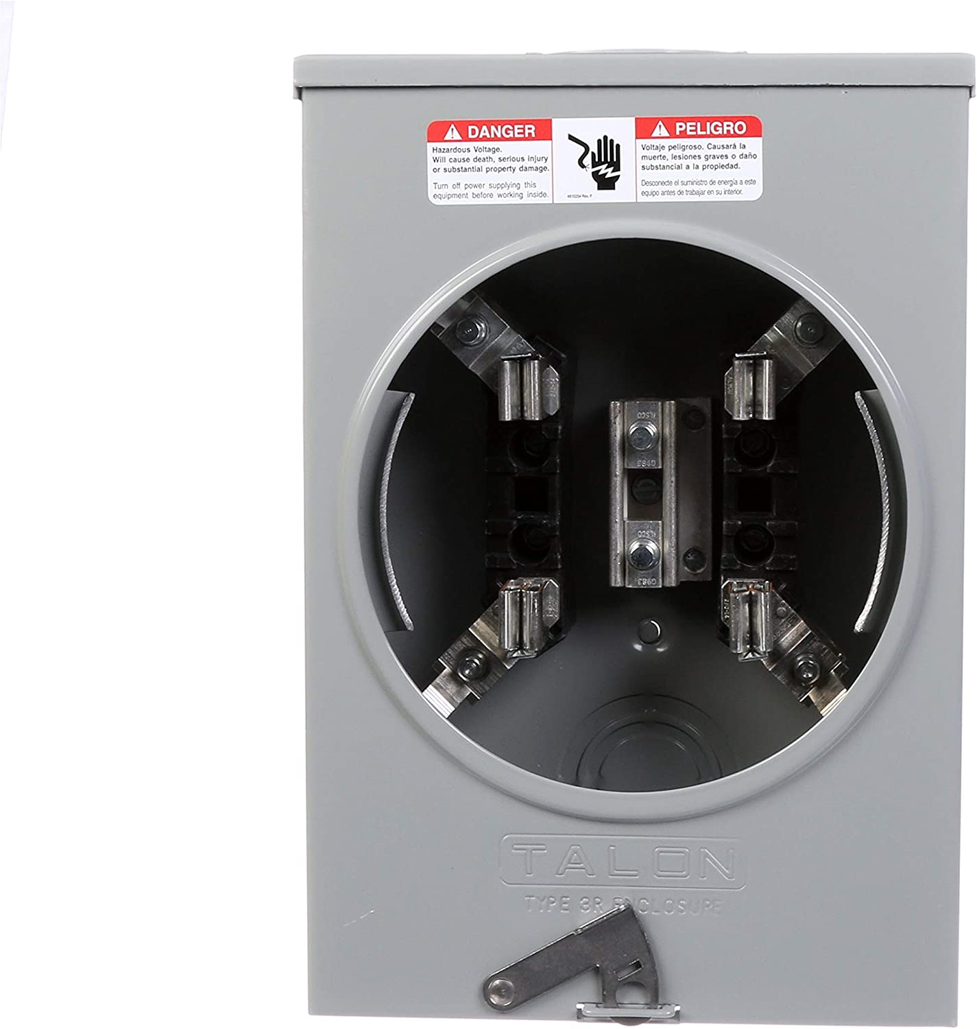 135-Amp Siemens SUAT111-0PQG Meter Socket with 4 Jaw Horn Bypass Ringless Cover Overhead and Underground Feed