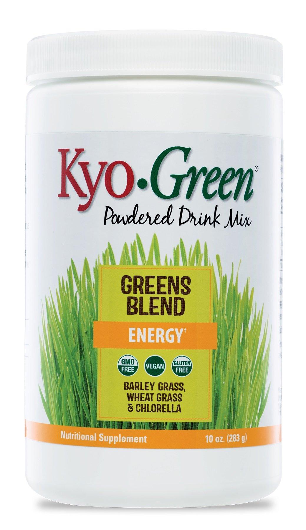 Kyo-Green Green Blends Energy Powered Drink Mix (10 Ounce Bottle) Green Powder Superfood Blend, Quick-Dissolving Nutritional Supplement