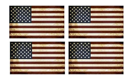 4 pack american flag patriotic faded stars and stripes auto decal bumper sticker 5x3