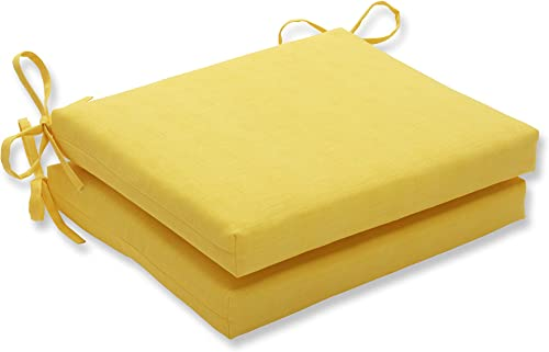 Pillow Perfect Outdoor Indoor Fresco Square Corner Seat Cushions, 18.5 in. L X 16 in. W X 3 in. D, Yellow, 2 Pack