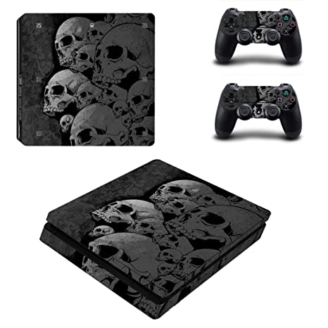 Chickwin PS4 Slim Vinyl Skin Full Body Cover Sticker Decal For Sony Playstation 4 Slim Console & 2 Dualshock Controller Skins (Skulls)