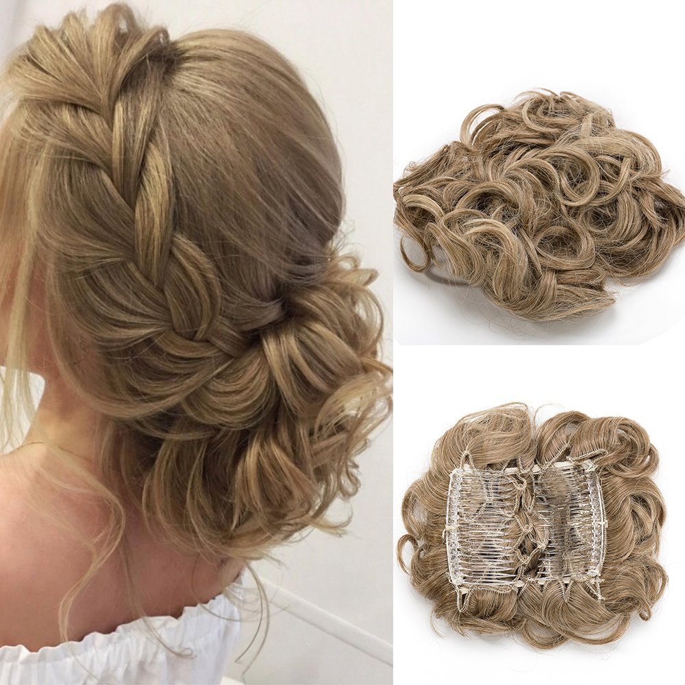 Hair Bun Scrunchy Scrunchie Hair Extensions Chignon Hair Combs Clip In Hairpieces Curly Wavy Ponytail - Silver Grey Lady Outlet Mall