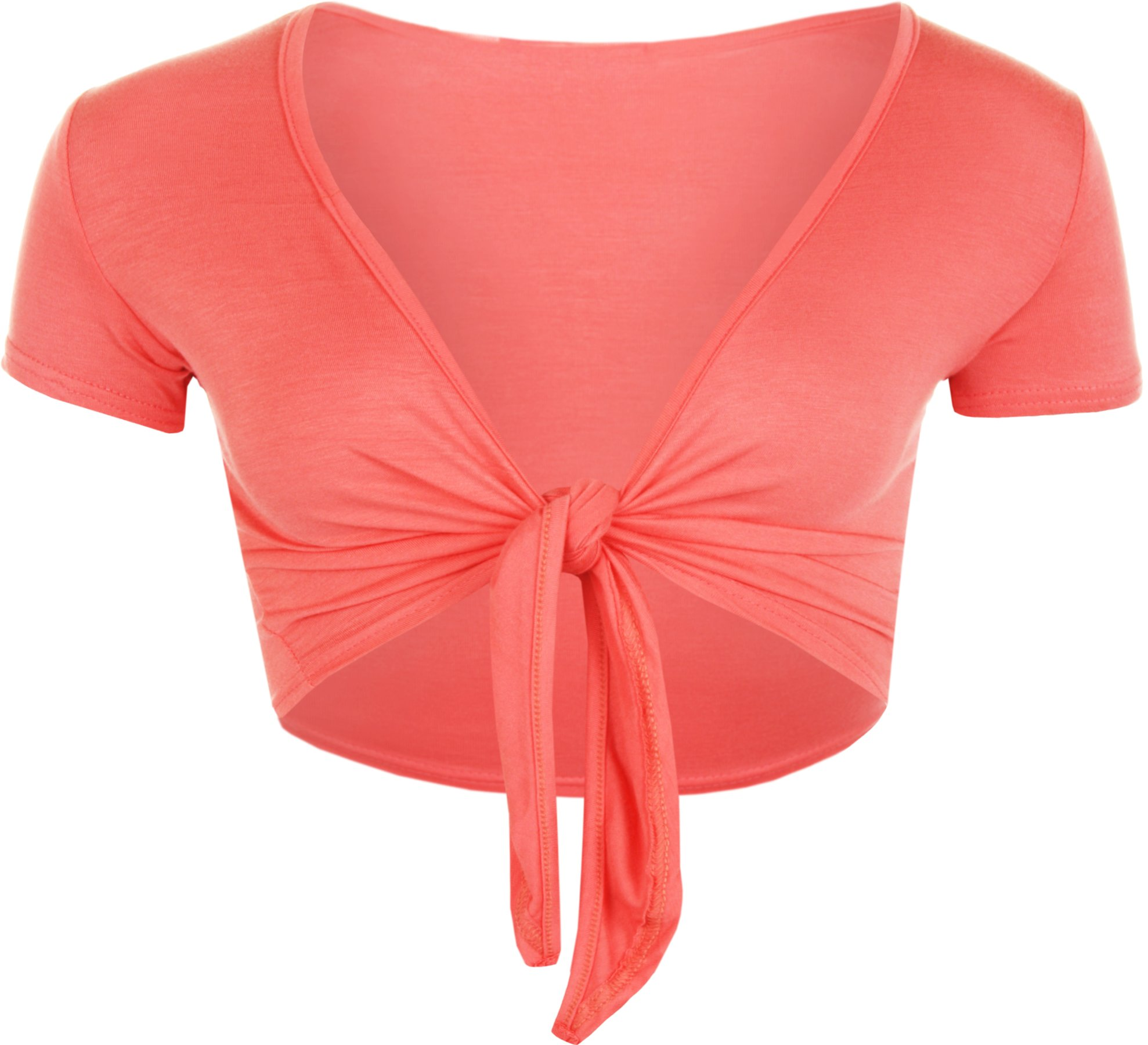 WearAll Women's Tie Up Ladies Short Sleeve Stretch Open Top - Coral - US 8-10 (UK 12-14)
