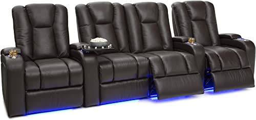 Seatcraft Serenity Leather Home Theater Seating – Power Recline Row of 4 Middle Loveseat, Brown