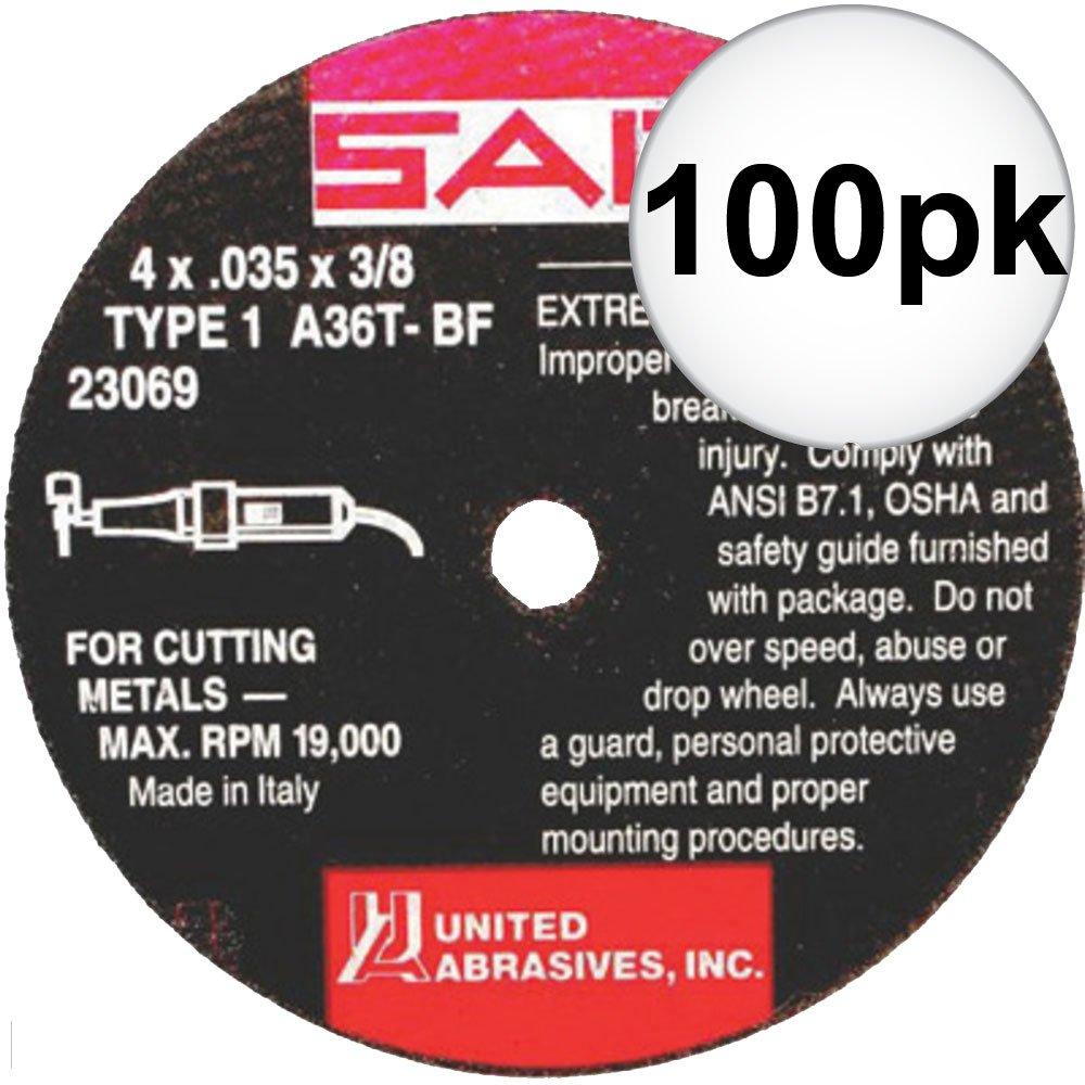Sait 23069 4'' x 3/8'' x .035'' Thin Metal Cutting Wheel 100-Pack