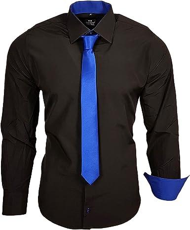 Rusty Neal Camisa de contraste para hombre, color negro ...