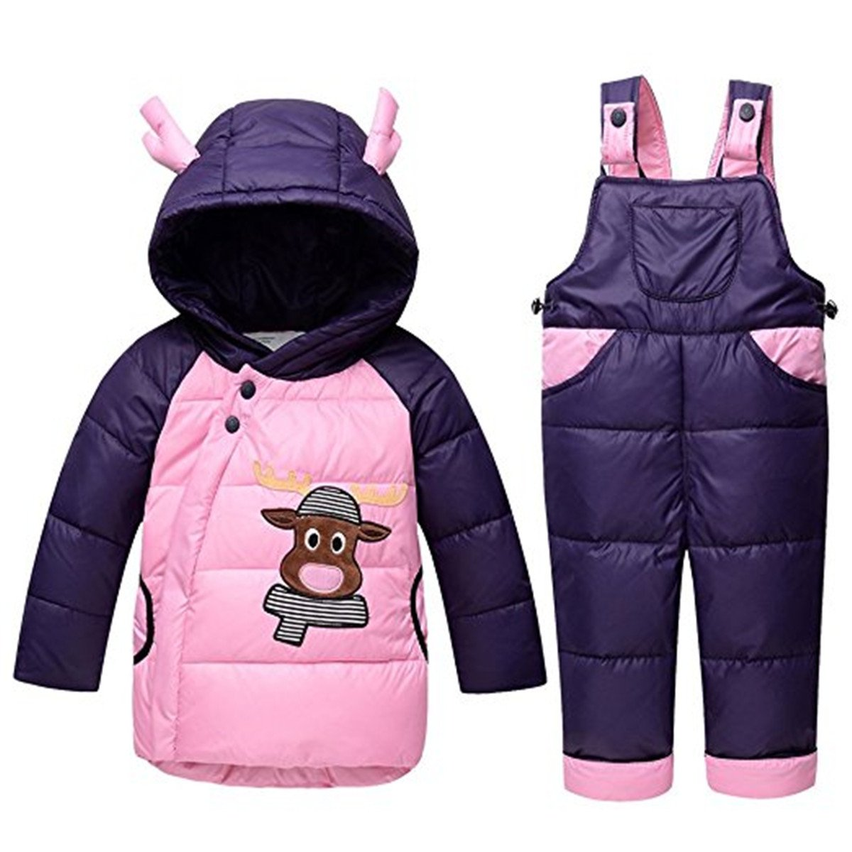 JELEUON Baby Girls Winter Warm Cute Cow Cartoon Snowsuit Puffer Down Snow Jacket with Snow Ski Bib Pants Outfits