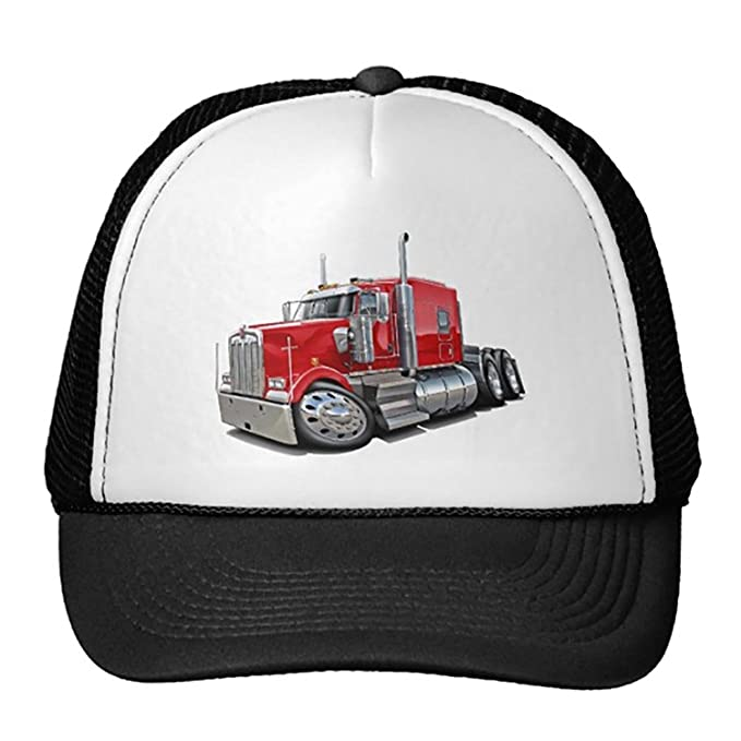 9a228e9eeff Image Unavailable. Image not available for. Color  Unisex Black Kenworth  W900 Red Truck Trucker Classic Baseball Hat ...
