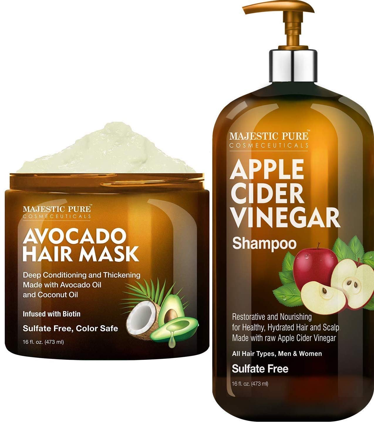 Apple Cider Vinegar Shampoo and Avocado Hair Mask by Majestic Pure, Hair Care Bundle, for ALL Hair Types