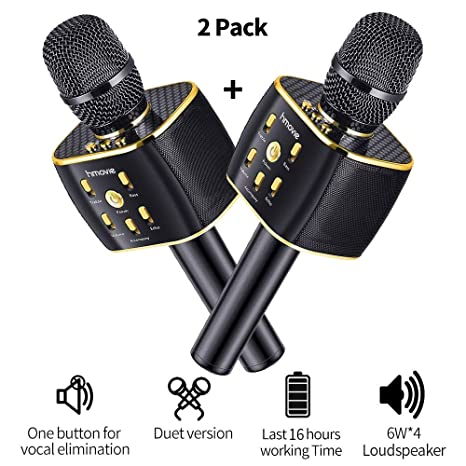 Dual Sing Duet Version Wireless Karaoke Microphone 12w Hi-Fi Bluetooth  Speaker Player for iPhone Android Smartphone, 2019 Upgraded Bluetooth  Karaoke