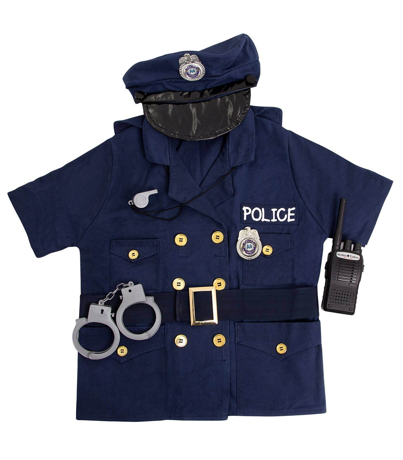 FAO Schwarz 5 Piece Police Role Play Costume Includes Shirt,Hat, Belt, Whistle, Handcuffs