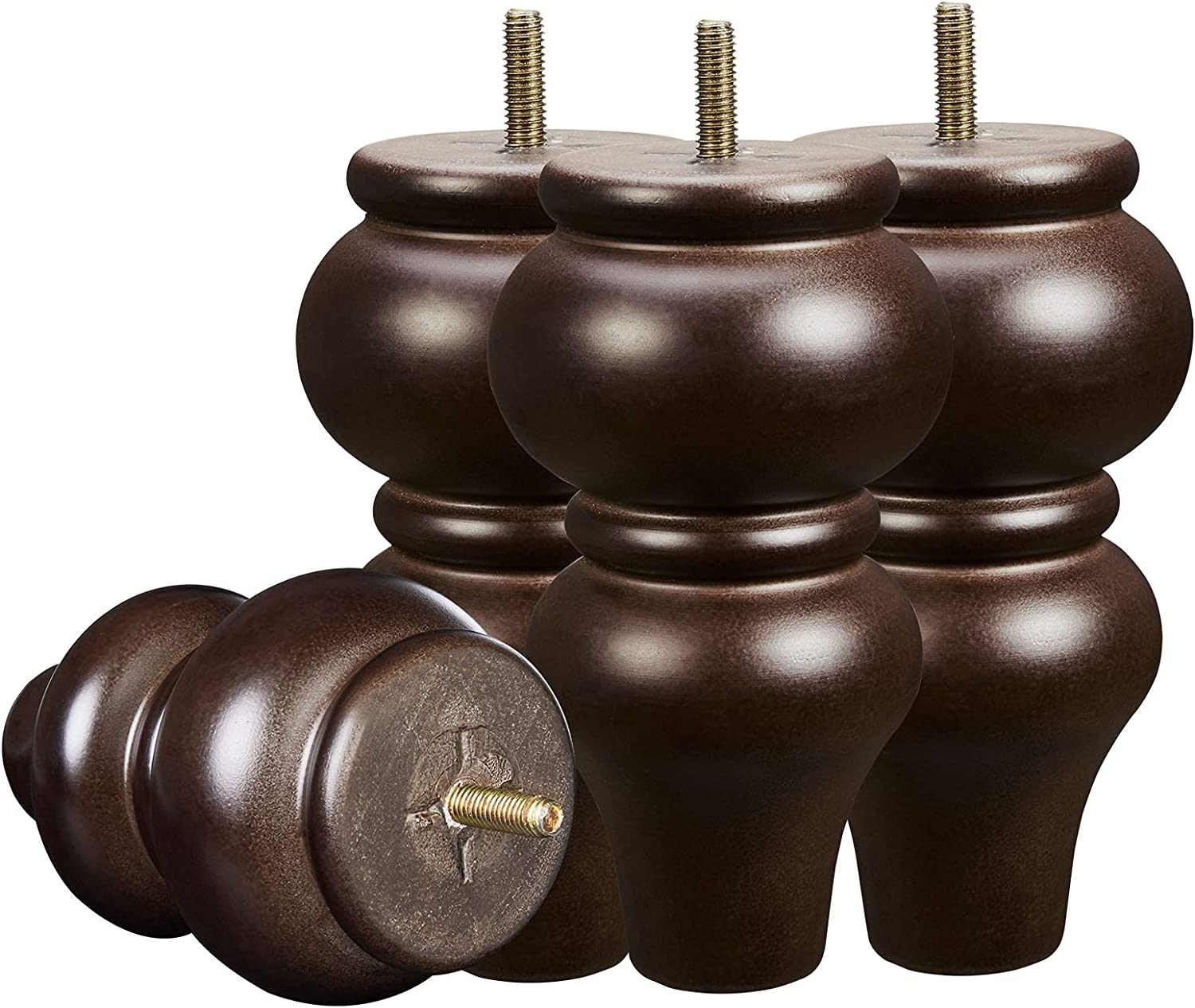 Wood Furniture Legs 6 inch Sofa Legs Pack of 4,Round Couch Legs Espresso Mid Century Desk Legs,Sofa Replacement Parts,for Dresser Legs Sideboard Recliner Couch Circle Chair Couch Riser Coffee Table
