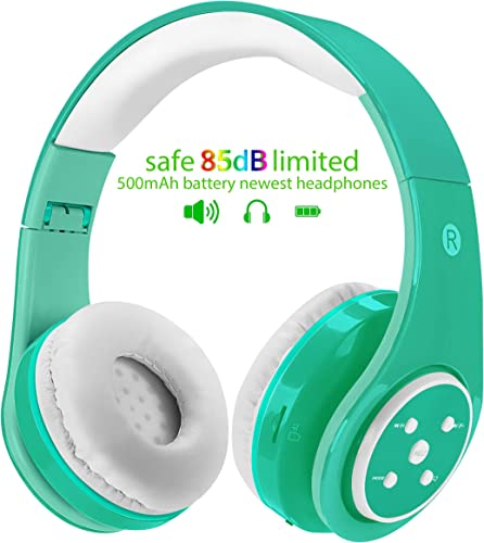 Kids Wireless Bluetooth Headphones Volume Limited 85db Stereo Sound Over-Ear Foldable Lightweight Children Headphones with Mic SD Card Slot up to 6-8 Hours Play time for Boys Girls Adults Green