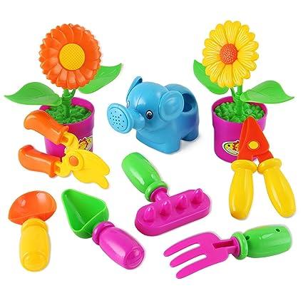 liberty imports little garden tools 9 piece gardening set for kids assorted styles - Little Garden