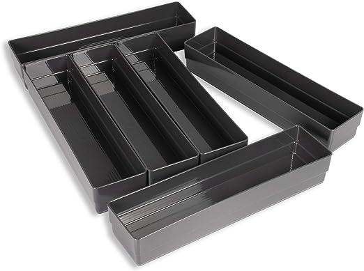 Hausfelder ORDNUNGSLIEBE Schubladen Organizer (6-teiliges Set in Anthrazit)  Ordnungssystem zur Aufbewahrung für Schminktisch Kosmetik Küche Büro, ...