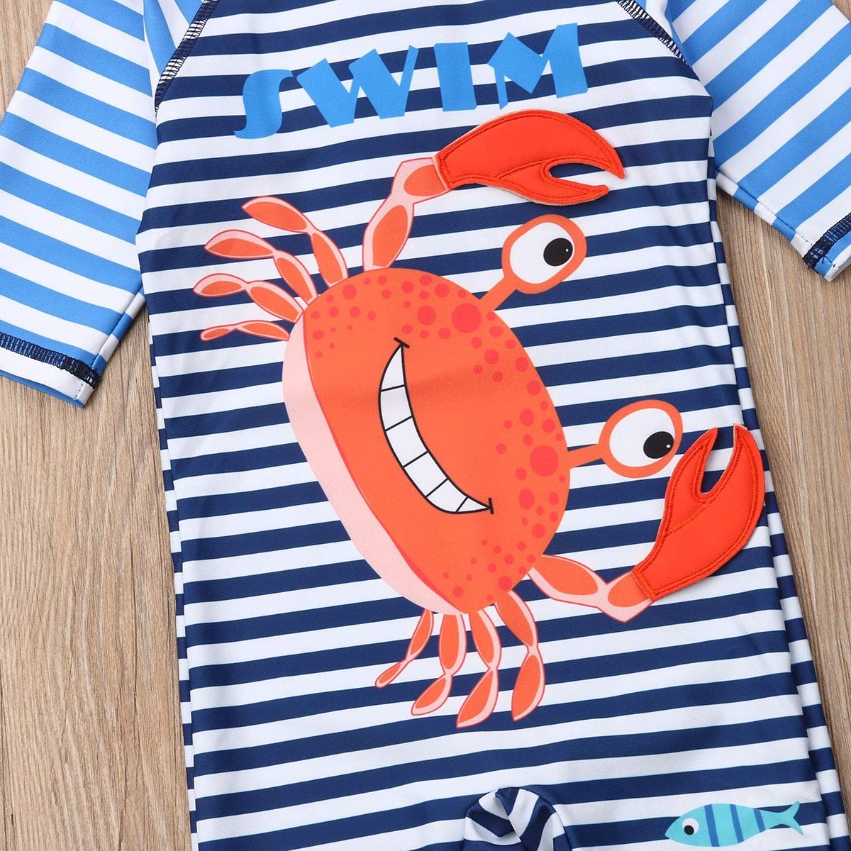 Baby Boys Swimsuit,All-in-One Rash Guard Sun Protection Quick-Drying Surfing Swimwear with Hat Crab Style