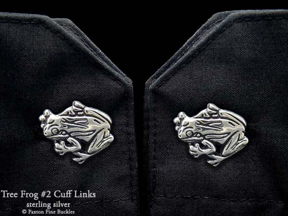Tree Frog 2 Cuff Links in Solid Sterling Silver Hand Carved & Cast by Paxton