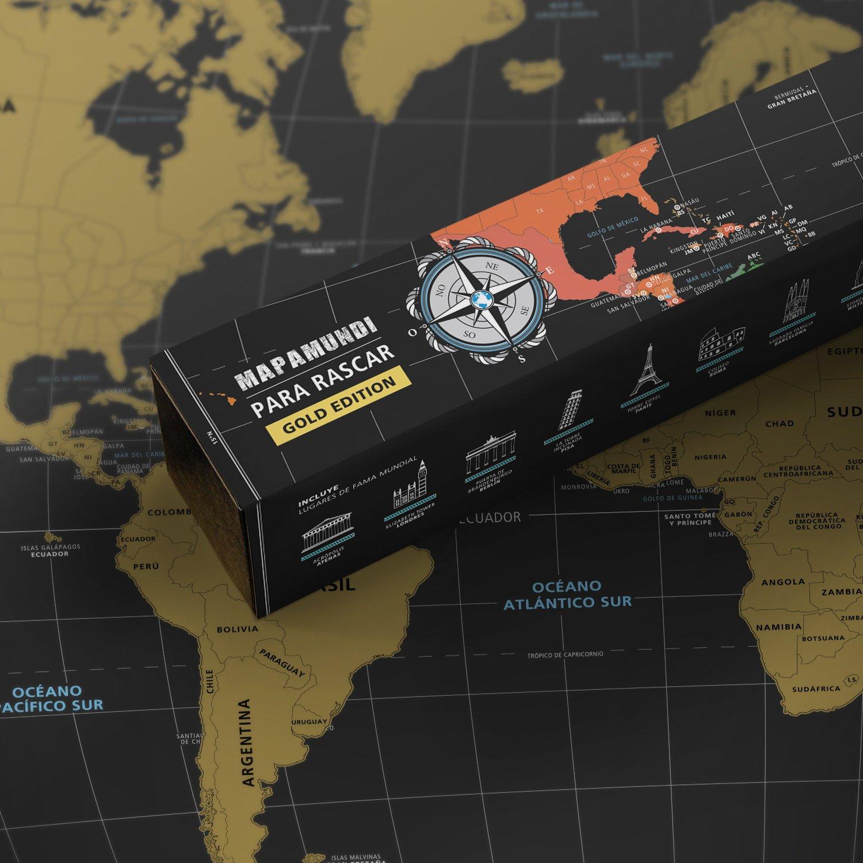#benehacks Mapa del Mundo en Ingles Tipo p/óster para rascar SIGA Sus Aventuras de Viaje en un Mapa detallado del Mundo 84 x 44 cm Mapamundi Oro//Blanco