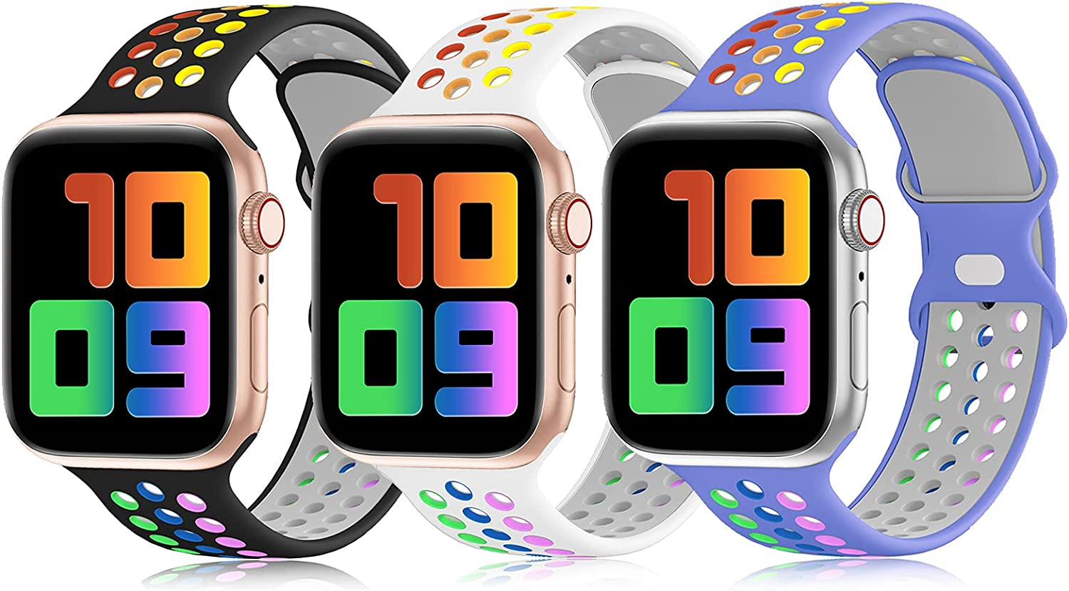 YAXIN 3 Pack Sport Bands Compatible for Apple Watch Bands 38mm 40mm 42mm 44mm, Breathable Soft Silicone Sport Replacement Wristband Women Men Compatible with iWatch Series SE/6/5/4/3/2/1