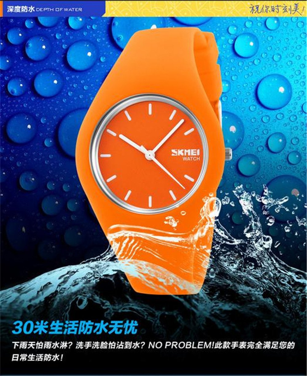 Skmei Fashion Trends Korean Version of The Silica Gel Quartz Ultra-Thin fine Gift Watches(12 Styles) (Pink) by SKMEI (Image #5)