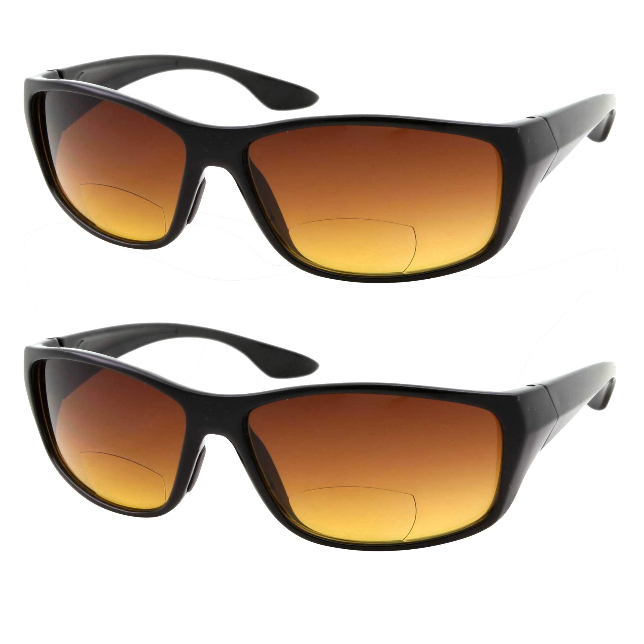 2 Pair Bifocal Sun Reader Sport and Wrap Around Reading Sunglasses - Amber Tint Great for Driving and Fishing - Men and Women (2 Black, 2.50)
