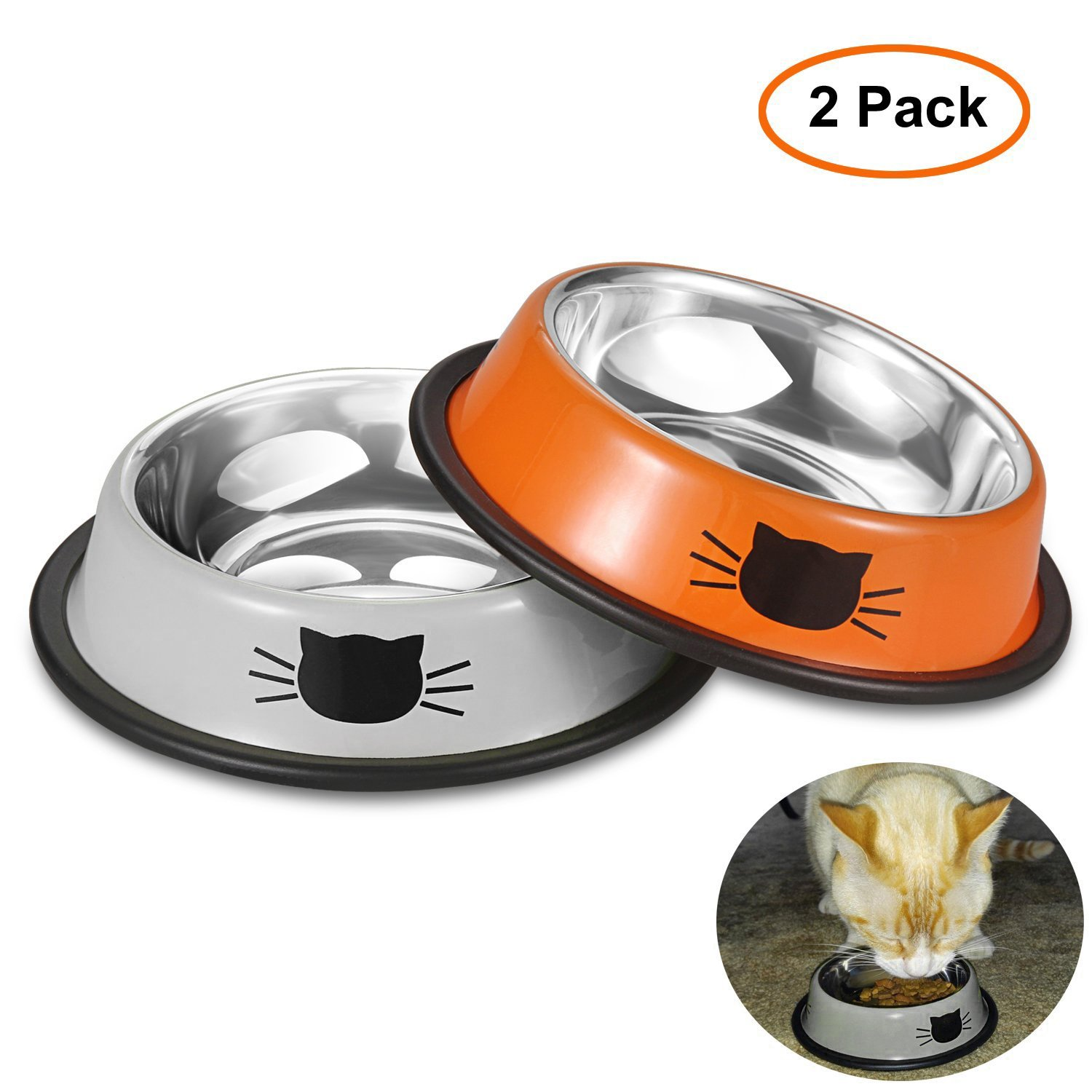 Comsmart Stainless Steel Pet Cat Bowl Puppy Dish Bowl with Cute Cats Painted ...