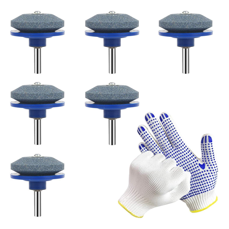 BELIOF 6 piezas Afilador de Cuchillas para cortac/ésped Cuchillas Afiladora Taladro El/éctrico Taladro Manual para cortar cesped Equilibrador de Cuchilla para Modelo Herramientas de Jard/ín