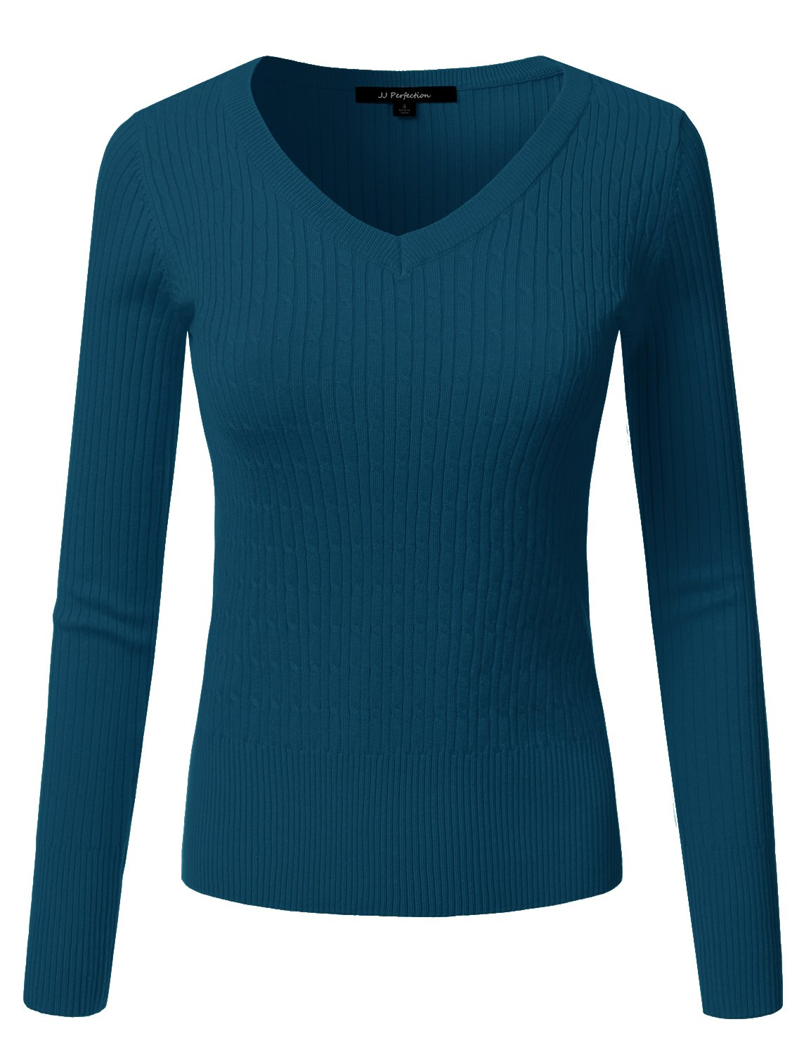 JJ Perfection Women's Classic Long Sleeve V-Neck Cable Knit Sweater Deepteal 2XL