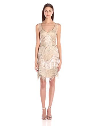a0848ffcc57 Adrianna Papell Women s Sleeveless Beaded Fringe Cocktail Dress