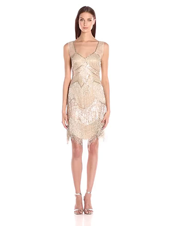 1920s Style Dresses, Flapper Dresses Adrianna Papell Beaded Cocktail Dress with Fringe $299.00 AT vintagedancer.com