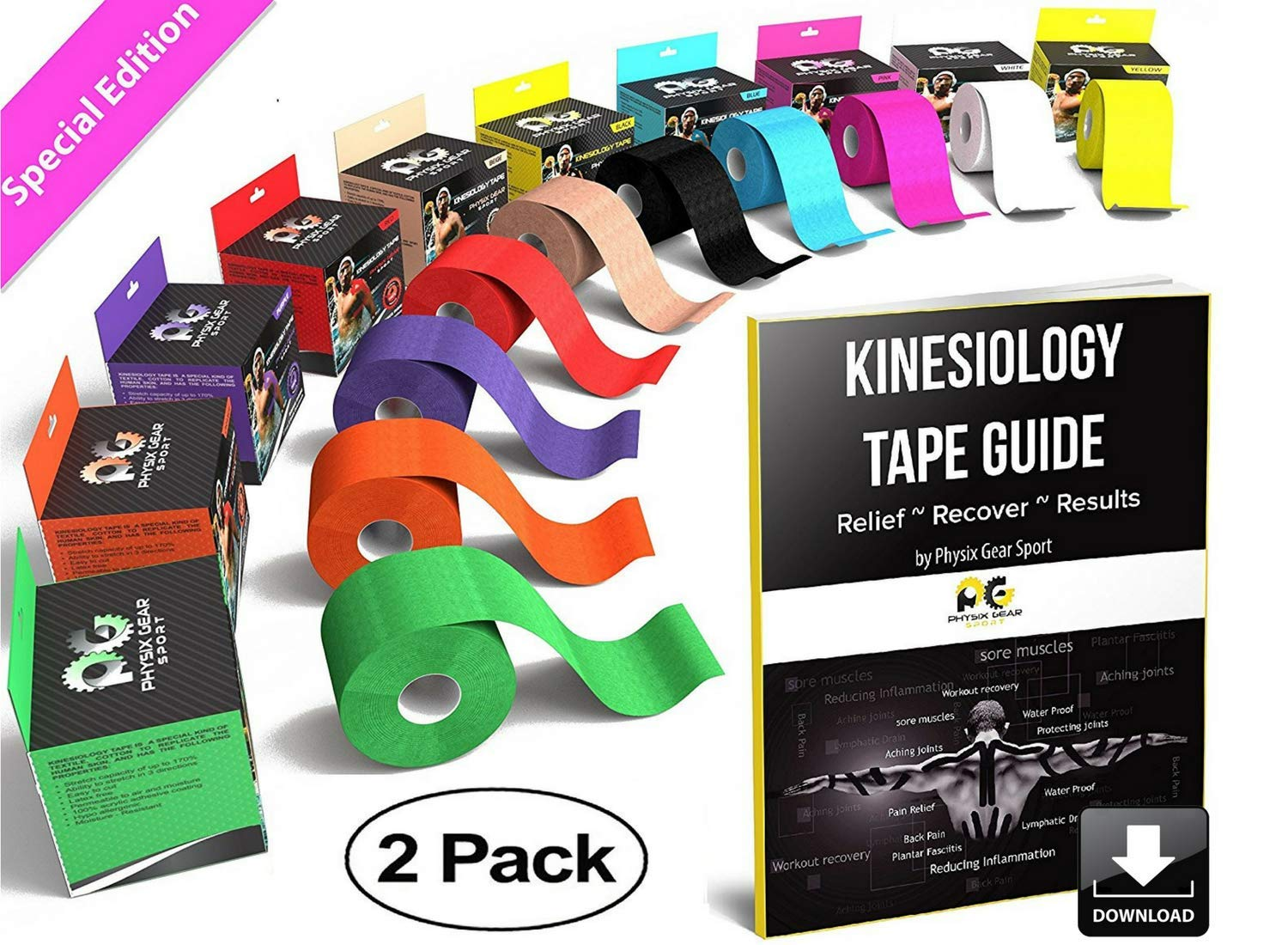 Physix Gear Sport Kinesiology Tape - Free Illustrated E-Guide - 16ft Uncut Roll - Best Pain Relief Adhesive for Muscles, Shin Splints Knee & Shoulder - 24/7 Waterproof Therapeutic Aid (2PK PNK) by Physix Gear Sport (Image #1)