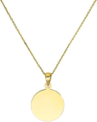 9ct Gold Engravable Round Pendant w Tiny CZ Crystal on Chain 16 18 20 Inches